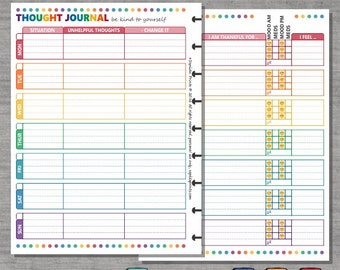 Anxiety Depression Thought Journal THP Printable Inserts Instant Download