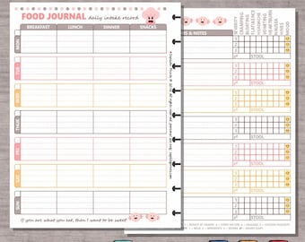 photo about Printable Food Diary known as Food stuff magazine Etsy