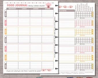 graphic about Weekly Food Diary Printable referred to as Meals magazine Etsy