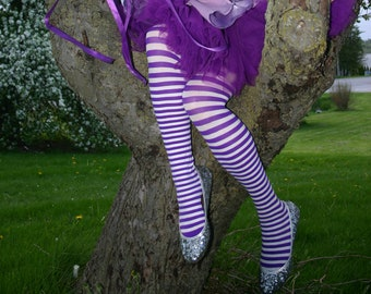Lily The Fairy's Purple Striped Leggings