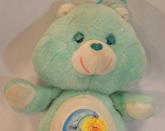 1983 Carebear Teal Bedtime Bear Stuffed Animal