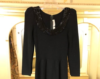 0600c69cfb0 Vintage St. John by Marie Gray Knit Black Dress with Beaded Collar