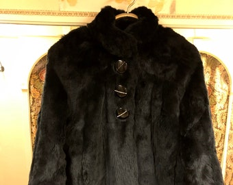 f33e4d6bb Items similar to Black Rabbit Short Bomber Jacket | Teddy Urban Fur ...