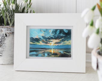 Small sunset oil painting, landscape oil painting, sea sunset painting, gift for her, original small art, for sale, small ocean painting