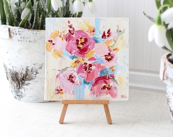 Abstract Peony Oil Painting, Small Floral Painting, Flowers Oil Painting, Pastel Abstract Art, Nursery Painting, Peony Bouquet, Bedroom Art