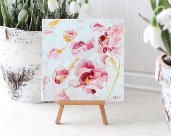 Small Floral Oil Painting, Abstract Oil Painting, Flowers Oil Painting, Nursery Art, Orchid Bouquet, Orchid Oil Painting, Square Wall Art
