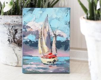 Small landscape oil painting, Ocean Painting, Ocean Wall Art, sunset oil painting, Modern Art, Sea painting, Nursery Painting, Nursery Art