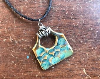 Mermaid Necklace (Ceramic w/wire wrap detail)   Handmade Pottery