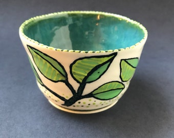 Leafy Ceramic Cup (small)   Handmade Pottery