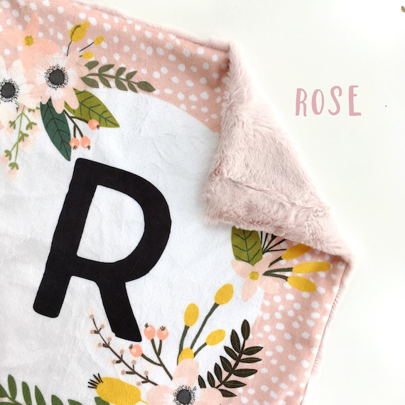 Modern Baby Blanket Baby Girl Wreath Baby Blanket Initial Lovey Personalized Baby Blanket Minky Baby Blanket