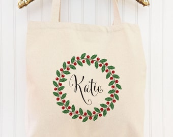 Personalized Christmas Tote, Christmas Tote Bag, Holiday Tote