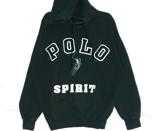 c67a3da0f Vintage POLO Spirit Spellout Embroidery Hoodie Jacket PullOver Vintage Polo  spirit of BEVERLY HILLS Jumper Jacket Dark Green