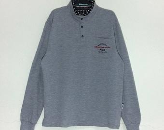 4fac23f7fca2 Vintage Fila International ITALY Long sleeve Button Collar Pullovers  Original Fila Biella italia Shirt M size Grey