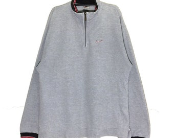 5b65fd1064 Rare!!! Vintage Nike Embroidery Logo Swoosh Sweatshirt Vtg Nike American  Football Rugby crewneck Pullover Jumper Half Zipper Jacket