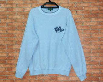 b2217be4f Rare!!! Vintage KENZO Paris Spellout Embroidered Sweatshirt crewneck  Pullovers Vtg Kenzo Golf Jacket Small size Light Blue