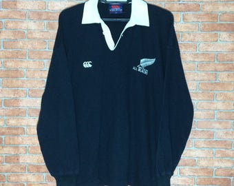 ce1841ebc87 Vintage CANTERBURY of New Zealand Long Sleeve Vtg Canterbury NEW ZEALAND  All Black Rugby Union Polos Shirt