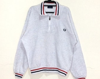 a71dd45f Vintage FRED PERRY embroidery Logos Sweatshirt Striped Crewneck Pullover  Jumper Jacket Jaspo