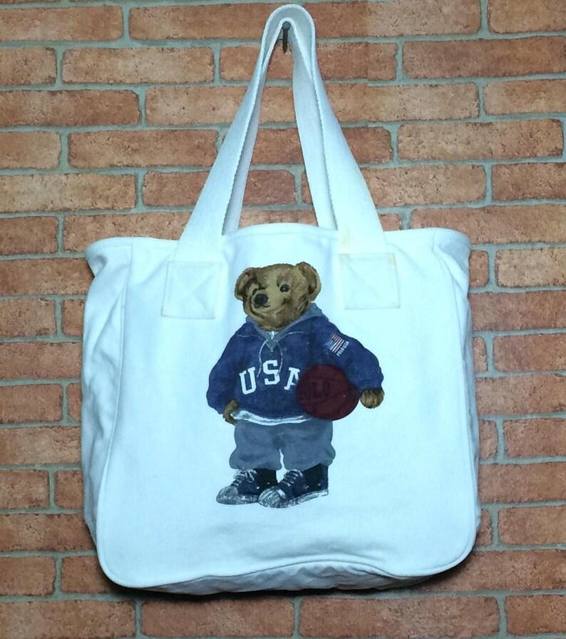 Rare Vintage 90 s POLO BEAR Ralph Lauren Tote Bag Vtg  05ad809bbbe6a