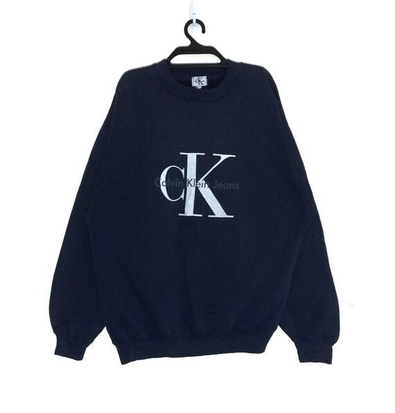 Rare!!! Vintage CK Calvin Klein Jeans Spell out Big Logo Sweatshirt Pullover Crewneck Vtg Ck Jeans Jumper Jacket