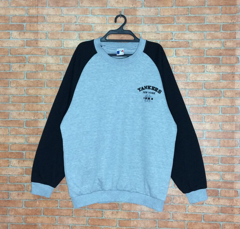 los angeles 072bb 614f5 Rare!!! Vintage New York Yankees Sweatshirt Pullover Vtg NY yankees  Baseball MLB Crewneck Jacket USA 2tone colour