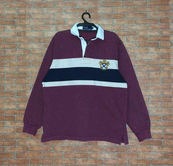 Rare Vintage POLO Ralph Lauren Long Sleeve Rugby Vtg Polo   Etsy baaa7a7d16