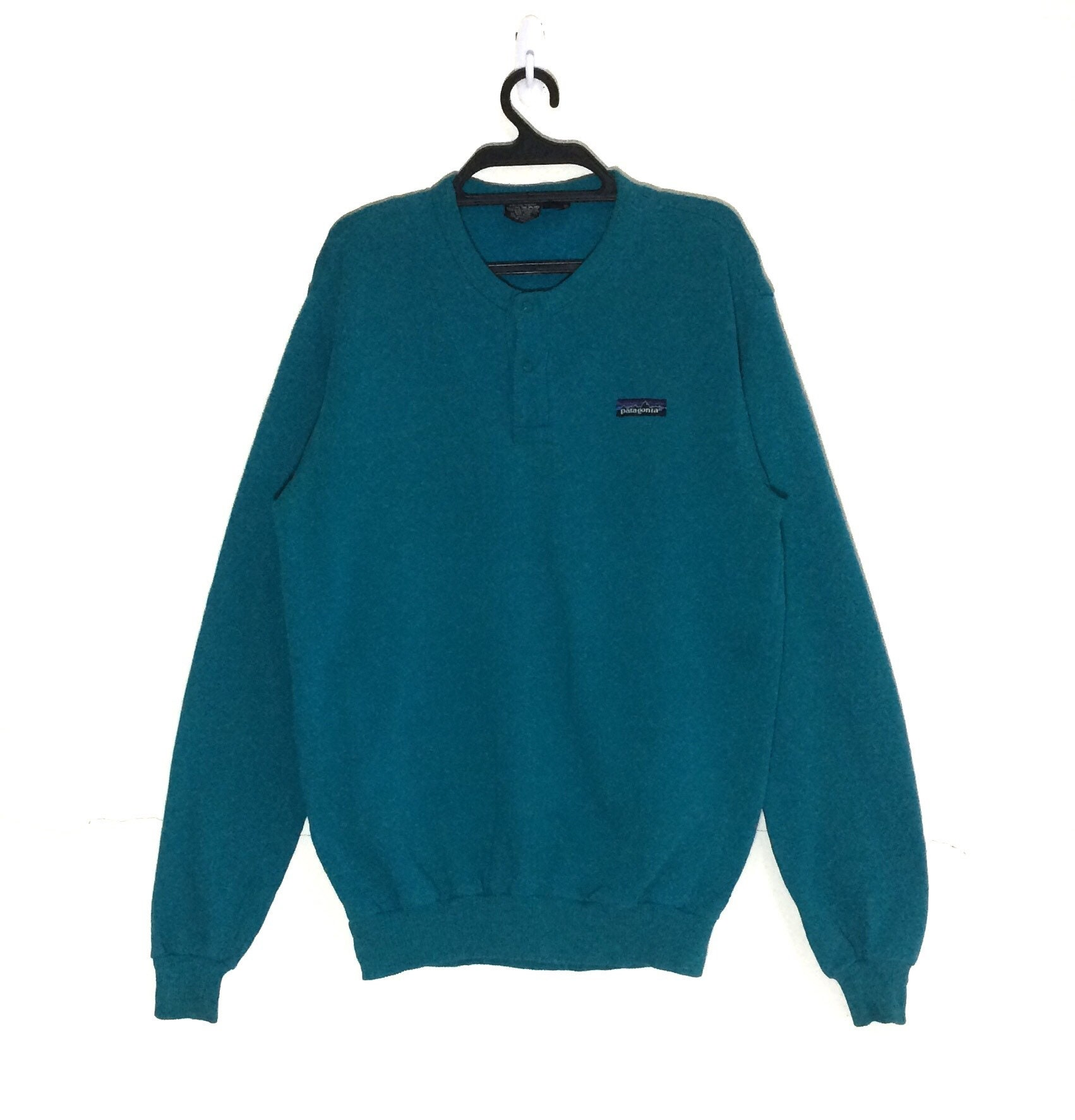 2a1ef15edeb52 Rare!!! Vintage PATAGONIA Sweatshirt Vtg Outdoor Pullover Crewneck Jacket M  size Turquoise Colour