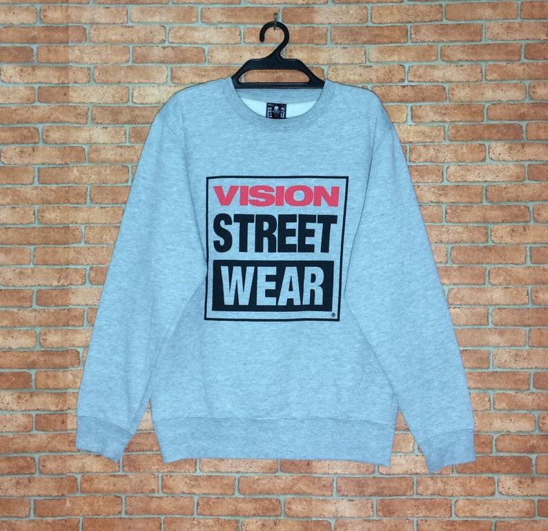 80211a14a9d4 Rare Vintage VISION Street Wear Spellout Sweatshirt Vtg