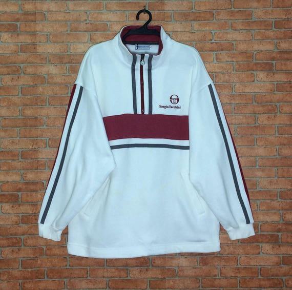 Rare!!! Vintage Sergio Tacchini Big Logo Spellout Embroidery Sweatshirt Pullovers Crewneck Jacket Half Zipper S size aqco3