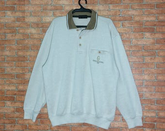 Rare!!! Vintage Gianni Valentino ITALY Sweatshirt Spellout Embroidered Pullover Vtg GV Crewneck Jacket size M