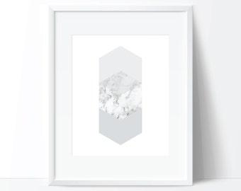 Geometric Print, Hexagon Print, Marble Digital Print, Minimalist Art, Geometric Art, Marble Poster, Geometric Printable, Marble Printable
