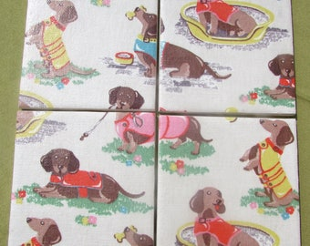 ee0c51913483 Gorgeous CATH KIDSTON Shabby Chic - Set of Ceramic Coasters - Dachshund  Sausage Dog - Fabric - Handmade