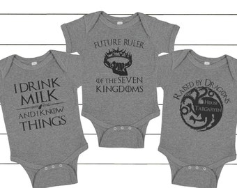 75cf6e0a9 baby set, 3-pack, baby dragon, I drink and I know things, future ruler,  Game of thrones, baby shower gift, game of thrones baby, STS002