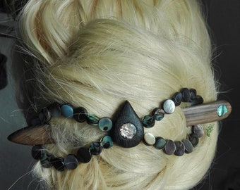hair clip abalone mother of pearls slide stick  fork  long hair