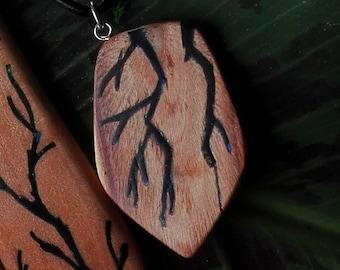 OOAK unique flashes handmade amulette  pendant sterlingsilver  burl  wood carving shop
