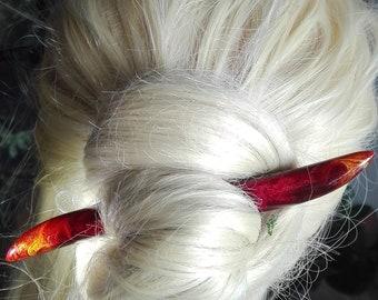 OOAK red lava fire flames reversible wood resin hairstick handmade