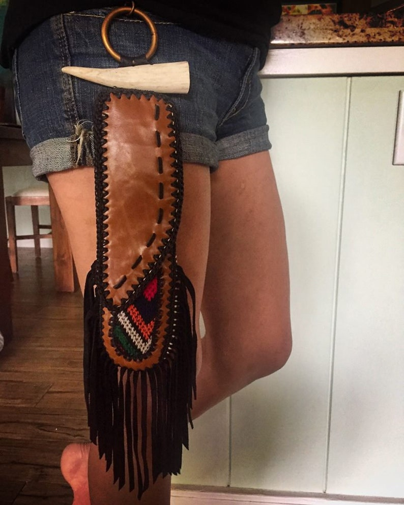 Cutlery Included-Festival WearRajasthani FabricLeather Fringe PouchHolder Scrap LeatherRecycled Fabric Reusable Cutleryknife sheath
