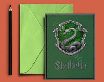 Slytherin Printable Gift Card - Holiday Gift Card- Greeting Card with Harry Potter Quote -A6,A5,A4 formats -INSTANT DOWNLOAD