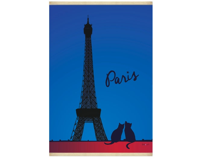 Poster 30X44 Chat de Paris by night by didouch