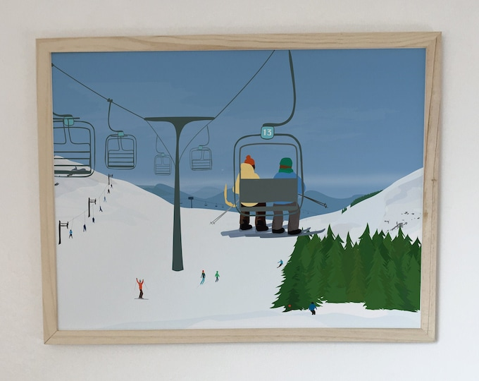chairlifts at didouch mountain displays Art Print