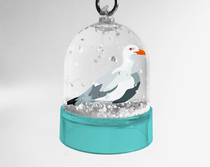 Snowball keychain Black-herring seagull of didouch