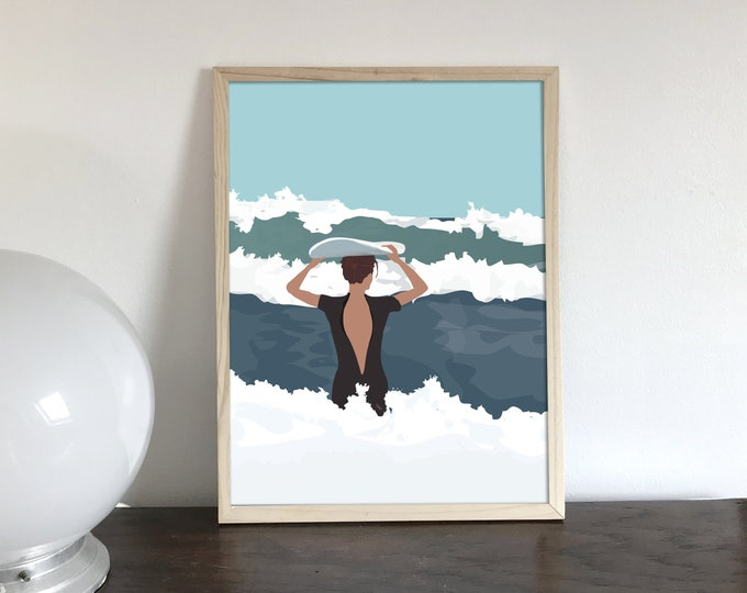 AFFICHE 2 sizes surfer to the ocean II - - didouch at the beach - surfing