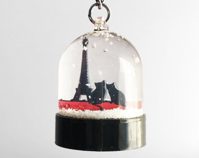 Cat Snowball Key Ring - Eiffel Tower