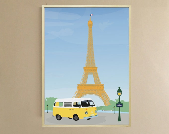 AFFICHE 3 formats Van in Paris - didouch in Paris - Eiffel Tower