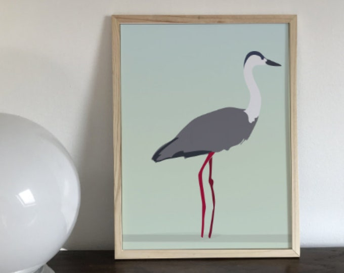 ART PRINT the heron perched didouch bird collection