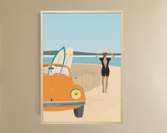 AFFICHE 3 FORMATS Dreaming - didouch at the beach - surfing