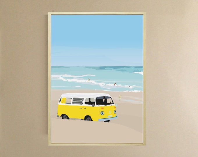AFFICHE 3 FORMATS: van at the beach