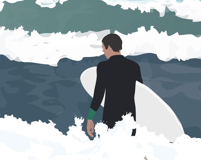 Ocean 3 - Surfer Poster Art Print