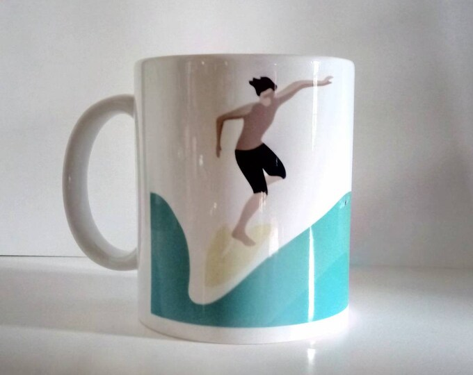 Blond surfer and brown illustration didouch on mug