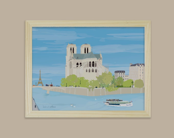 Poster on paper for decoration Notre Dame in Paris didouch