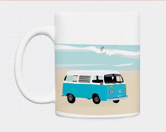 Mug van at yellow and blue beach illustrated by didouch